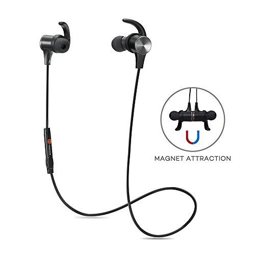 TaoTronics Bluetooth 4.1ステレオイヤホン、マグネティックヘッドホン、 イヤーバッド イヤーフック付け、内蔵式マイク TT-BH07
