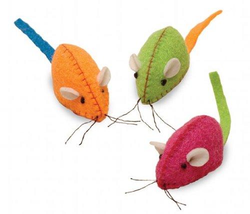 Smart Cat 3881 Neon Nina - Neon Pink Green Orange Felt Mice - 3 Pack - Case of 6