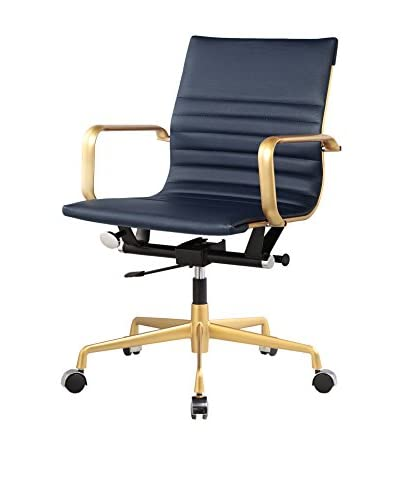 Meelano M348 Office Chair In Gold And Navy Vegan Leather