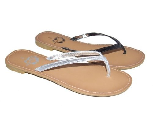 Tulissa Toe Post Sandals Silver Patent Black Sizes 3-8