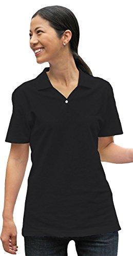 Tri-Mountain Women'S Y Neck Stylish Pique Golf Shirt, Black, Large front-1031939