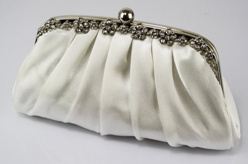 Luxurious Crystal Floral Frame Satin Prom Bridal Evening Clutch Bag (26cm x 14cm) with PreciousBags Dust Bag