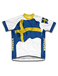 Sweden Flag Short Sleeve Cycling Jersey for Women