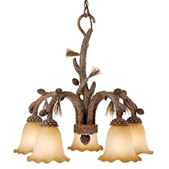 Vaxcel Lighting AS-CHD005 Aspen 5 Light One Tier Down Lighting Chandelier, Pine Tree