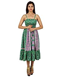 Handmade Polyester Floral Dress Green Printed Medium For Girl's By Rajrang