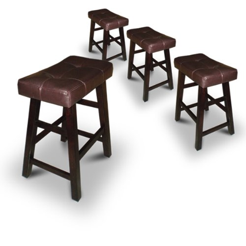 "4 24"" Saddle Back Espresso Bar Stools"