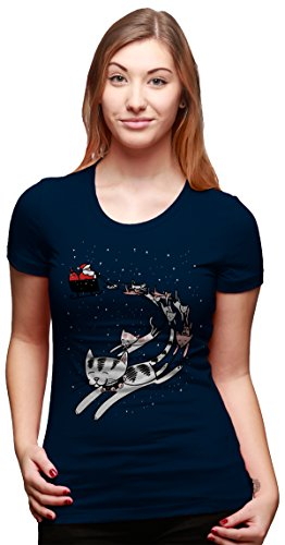 Womens Cat Sleigh Funny Santa Christmas Holiday T shirt (Navy) -S