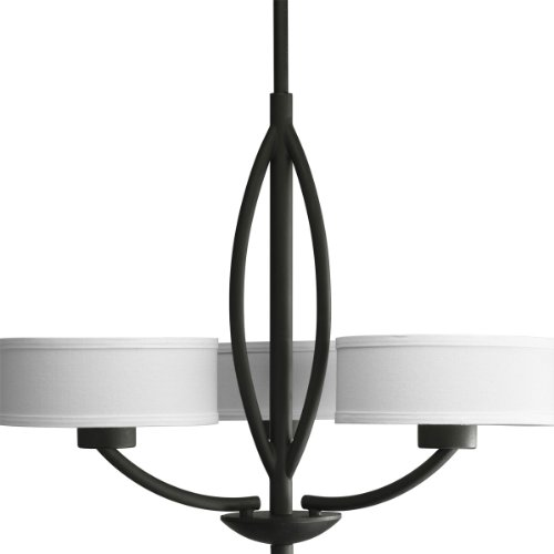 B004K5HZIG Progress Lighting P4537-80 Calven Three Light Chandelier, Forged Black Finish with White Fabric Shade