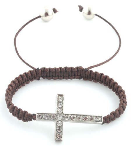 Brown with Silver Iced Out Cross Macrame Shamballah Stretch Bracelet