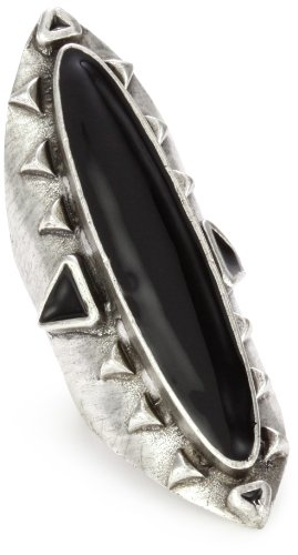Low Luv by Erin Wasson Antiqued Silver-Plated Long Wood, Ring 7