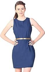 Unimod Women's Plain Dress (Blue, L)