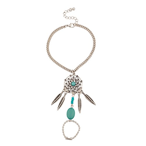 Turquoise Tribal Dreamcatcher Feather Leaf Bracelet Handchain Slave Hand Ring