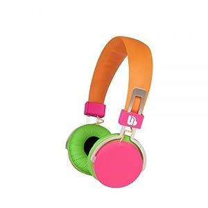 merkury innovations m hl720 urban beatz neon headphones pink green orange electronics. Black Bedroom Furniture Sets. Home Design Ideas