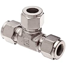 "Parker A-Lok 2ET2-316 316 Stainless Steel Compression Tube Fitting, Tee, 1/8"" Tube OD"