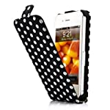 Fosmon Polka Dot Magnet Flip Hard Leather Case For Apple iPhone 4 / 4S - Black / White
