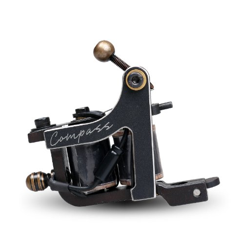 Compass Tattoo Machine Gun Plata Shader 10 Wraps Steel Frame Copper Coils WQ2063