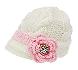 Bestknit Handmade Newborn Toddler Baby Girls Crochet Knit Brim Cap Hat Small white