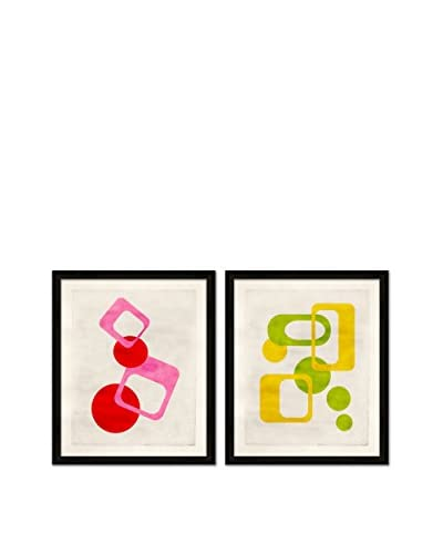 Soicher Marin Set of 2 Mod Giclée Reproductions, Red/Pink/Green/Yellow