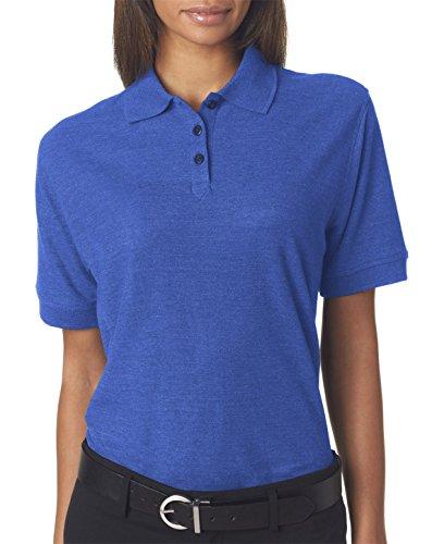 8541 UltraClub Women's Whisper Pique Plain Polo Shirt 2XL Royal Heather