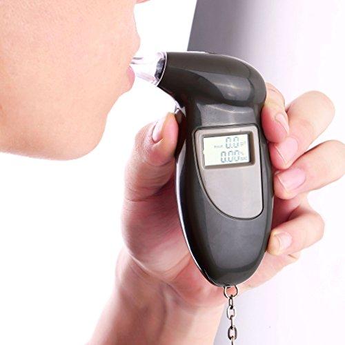 OUTAD Testeur Alcool Éthylotest Numérique Alcootest à Écran LCD Alerte Sonore Porte-Clés 5 Embouts