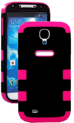 """Mylife Black And Hot Pink - Flat Color Design (3 Piece Hybrid) Hard And Soft Case For The Samsung Galaxy S4 """"Fits Models: I9500, I9505, Sph-L720, Galaxy S Iv, Sgh-I337, Sch-I545, Sgh-M919, Sch-R970 And Galaxy S4 Lte-A Touch Phone"""" (Fitted Front And Back S"""