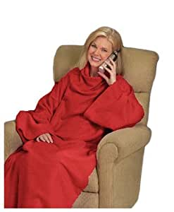 Matching Bedrooms Adult Lounge Snuggle Wrap Blanket with Sleeves in Red