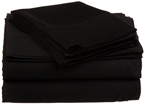 "550 Tc Egyptian Cotton Fitted Sheet For Camper'S, Rv'S, Bunks & Travel Trailers 3 Piece Set 10"" Deep Short Queen (60X75"") Black Solid back-1079901"