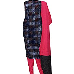 APKAMART Women Cotton Tie and Dye or Rajasthani Bandhej Black and Red - Unstitched Dress Material - 2.2 Meters