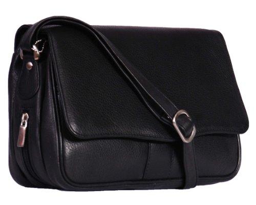 Ladies Leather Organiser Bag 871Black Women's Cross Body Bag