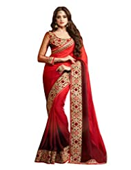 7 Colors Lifestyle Brown & Red Coloured Satin Jacquard Embroidered Saree