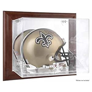 New Orleans Saints Framed Wall Mounted Logo Helmet Display Case