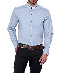 Dazzio Men's Slim Fit Cotton Casual Shirt (DZSH0125_Grey_38)