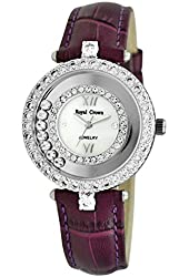 Royal Crown Women's Jewelry Watches Genuine leather strap Quartz Mother of Pearl Dial LANGII-3628L-PUL
