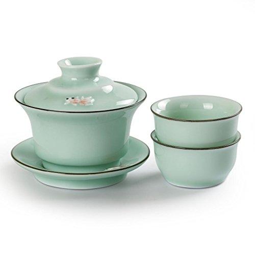 Chinois Gong Fu thé Céladon de Longquan 3D poisson main Tasse à thé Théière de (main tasses * * * * * * * * * * * * * * * * 1+ 2)