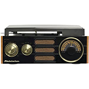 Studebaker 3-Speed Stereo Turntable with AM/FM Stereo Radio SB6055