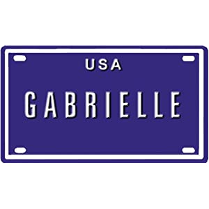 "GABRIELLE USA MINI METAL EMBOSSED LICENSE PLATE NAME FOR BIKES, TRICYCLES, WAGONS, KIDS DOORS, GOLF CARTS, BABY STROLLERS, PEDAL CARS. OVER 400 NAMES AVAILABLE. TYPE IN ""NAME"" USA PLATE IN SEARCH. YOUR NAME WILL SHOW UP."
