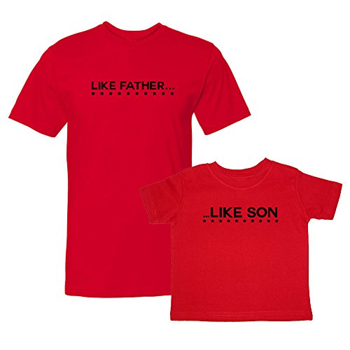 We Match! Like Father Like Son (Black Print) Adult & Baby/Kids Two T-Shirts Set (Youth Small Child, Adult Large, Red)