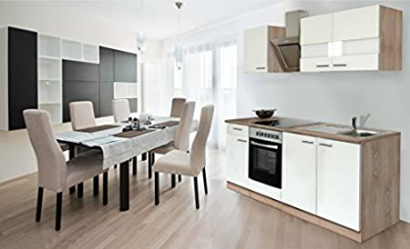 Respekta Fitted Kitchen Units 210 cm oak Rough-Sawn Sonoma Front White with Designer Slanted Cover