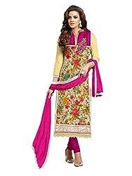 Leela Creators Printed Soft Brasso Salwar Suits (Pink)