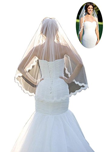 Mollybridal 2016 Lace One Layer Tulle Eblow Wedding Veils Fingertip Length With Comb Ivory