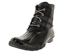 Sperry Top-Sider Women's Saltwater Boot, Black/Grey Plaid, 7 M US