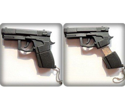 8GB Black Gun Shape USB 2.0 FlashDrive