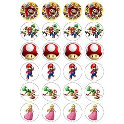 Nintendo Super Mario Style 24 Edible Wafer Paper Fairy Cup