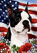 Boston Terrier Dog - Tamara Burnett Patriotic I Garden Dog Breed Flag 28'' x 40''