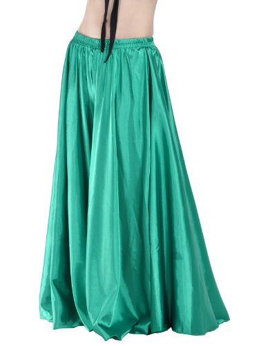 2014Dance Fairy dark green belly Dance Satin Long Skirt dance Costume