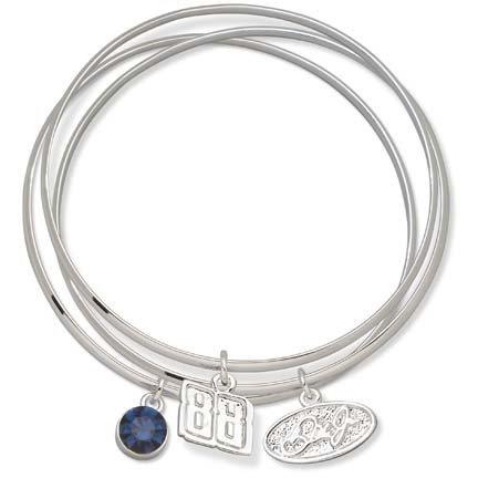 Dale Earnhardt Jr. #88 Triple Bangle Bracelet with Blue Stone