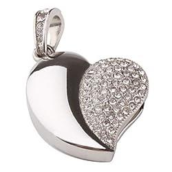 Quace Silver Heart Cool Fancy USB Flash 16 GB Pen Drive