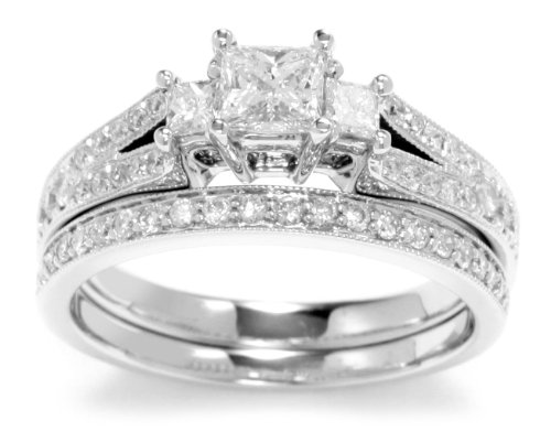 Kobelli 1-1/8 Cttw Princess, Round Diamond Wedding Set Rings