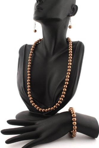 Ladies Metallic Brown Pearl Style Matching Adjustable Necklace, Stretch Bracelet, & Drop Earrings Jewelry Set
