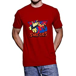 Faindeaz Men's Cotton Swat Kats T Shirt_Red_S